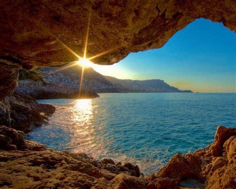 Amanecer visto desde una cueva   1280x1024 :: Fondos de ...
