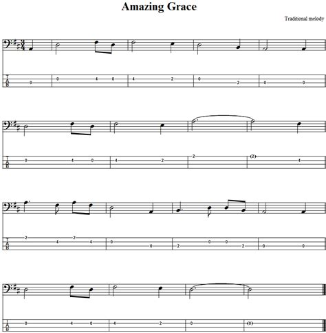 Amazing Grace: Bass Guitar Tab and Sheet Music