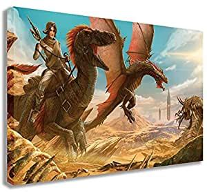 Amazon.com: ARK SURVIVAL EVOLVED 2 DINOSAURS CANVAS WALL ...
