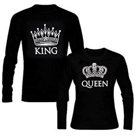 Amazon.com: picontshirt King & Queen Long Sleeve Black ...