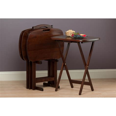 Amazon.com: Winsome Wood Lucca 5 Piece Set TV Tables with ...