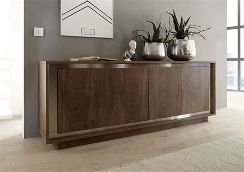 Amber modern sideboard in oak cognac finish with inlays ...