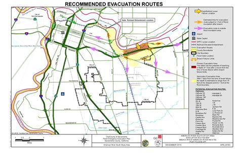 American River South Evacuation Route 2 Map
