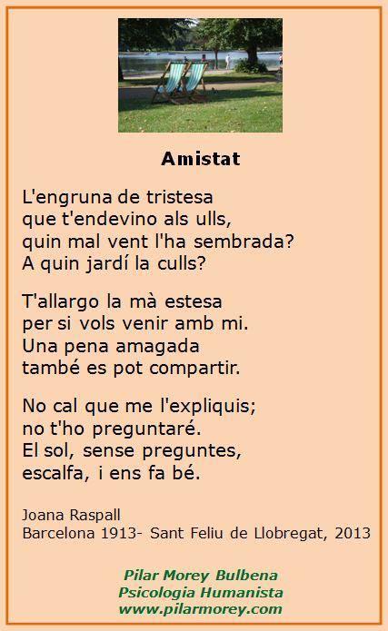 Amistat , poema de Joana Raspall. | Poemas, Poesia ...