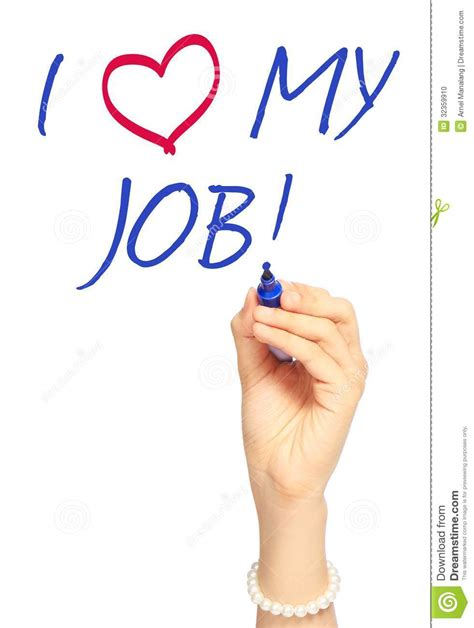 ¡Amo mi trabajo! foto de archivo. Imagen de empleo ...