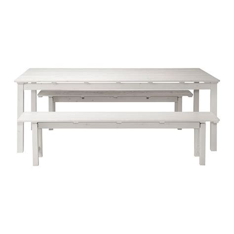 ÄNGSÖ Table+2 benches, outdoor   white stained   IKEA