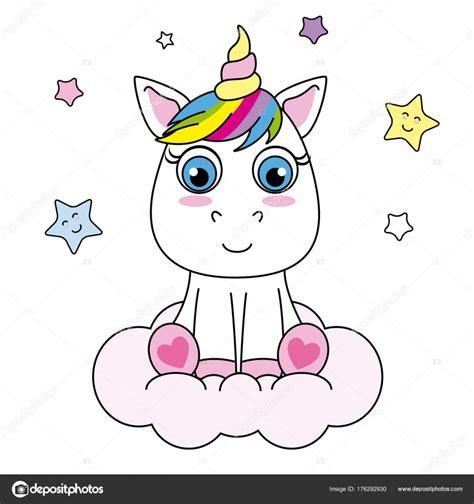 Animado: unicornio sentado | Unicornio Dibujos Animados ...