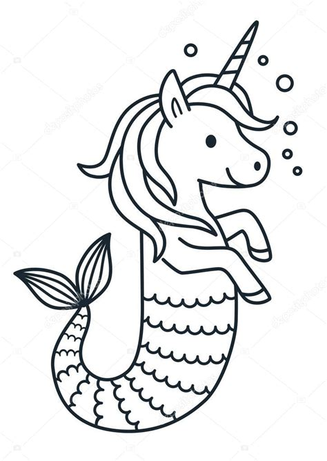 Animado: unicornios para colorear | Vector de sirena lindo ...