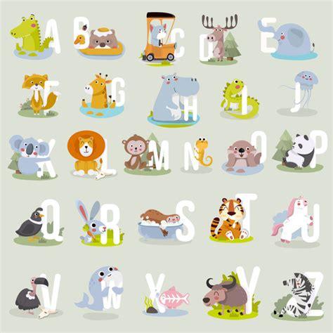 Animal alphabet graphic a to z. cute vector zoo alphabet ...