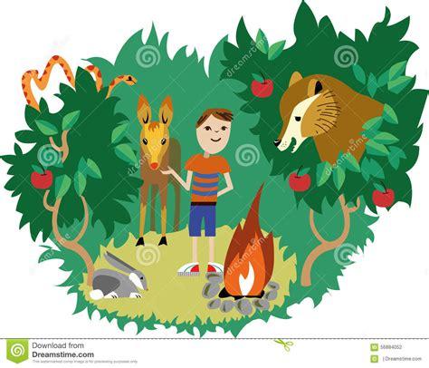 Animales Salvajes Y Ser Humano Stock de ilustración ...