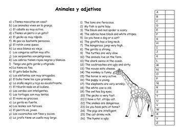 Animals and Adjectives in Spanish/ Animales y Adjetivos en ...