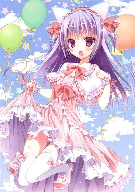 anime Girls, Cat Ears, Balloons Wallpapers HD / Desktop ...