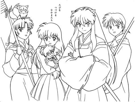 Anime Girls Group Coloring Page   Coloring Home