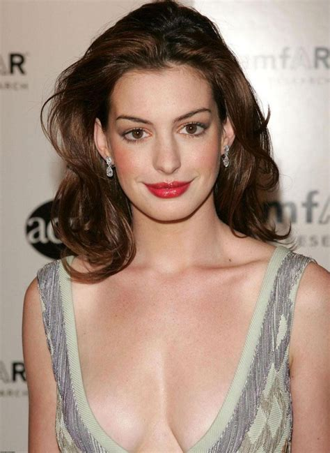 Anne Hathaway Brown Full Lace Medium Length Wavy Human ...