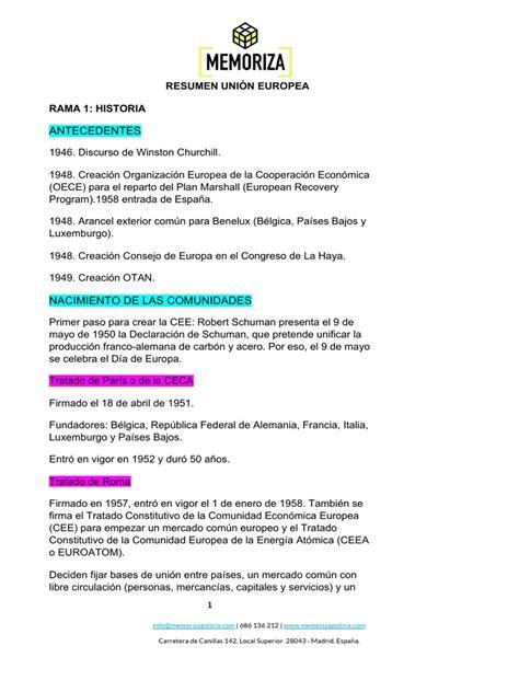 Antecedentes: Resumen Unión Europea Rama 1: Historia ...