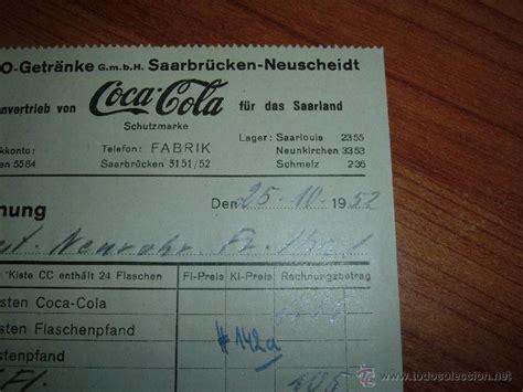 antigua factura de cocacola alemana, 1952   Comprar ...