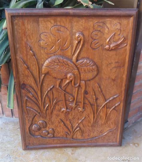 Antiguo cuadro de madera tallado a mano artesan   Vendido ...