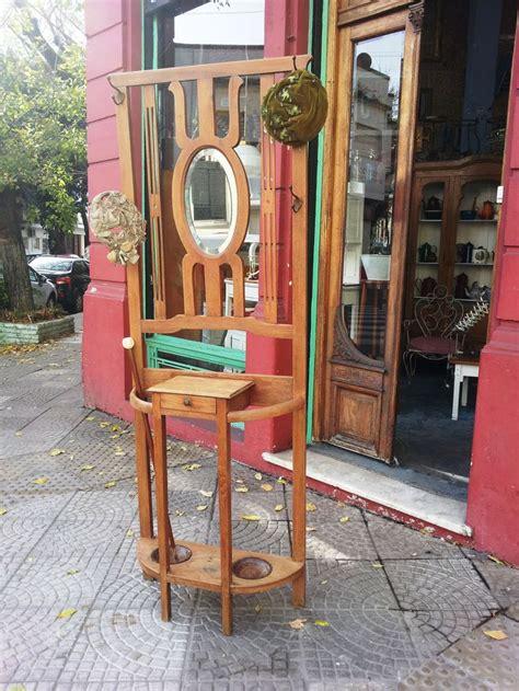 Antiguo Perchero Recibidor en Roble con Espejo Biselado ...