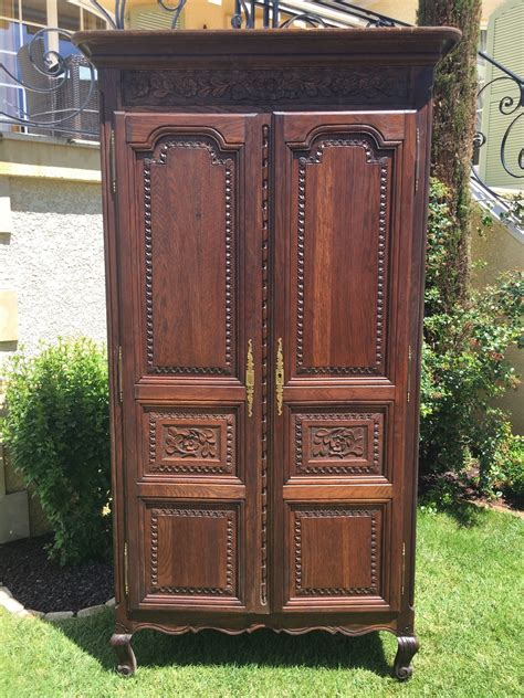 Antique French Normandy Bedroom Armoire in Oak Large ...