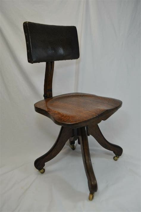 Antique Vintage Wood and Leather Rolling Office Chair ...