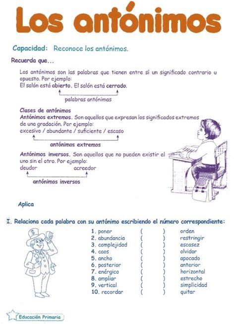 Antónimos para niños 6º primaria | Razonamiento Verbal