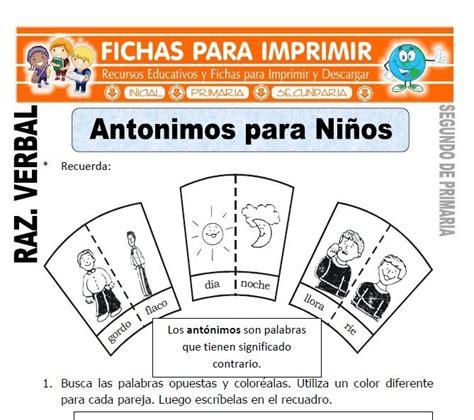 Antonimos para Niños para Segundo de Primaria | Infantil ...