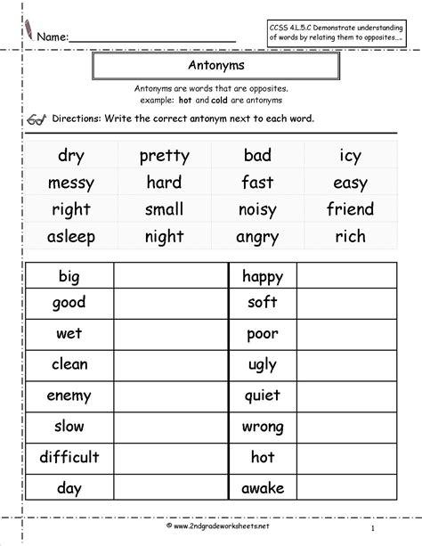 antonyms worksheet   2nd grade worksheets, 1st grade ...