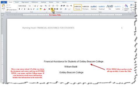 APA Running Header   MS Word 2010   APA Style Guide ...