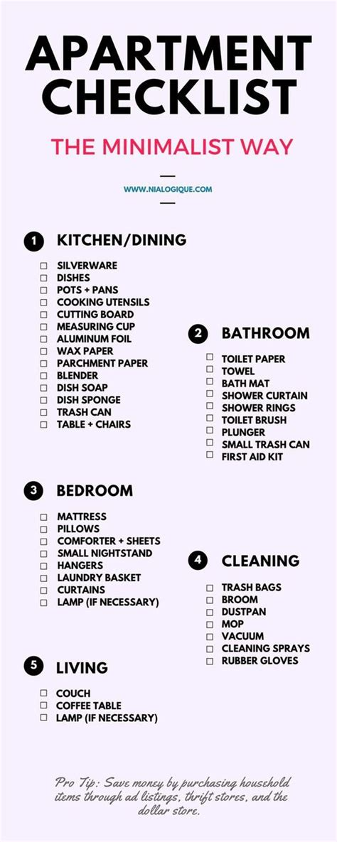 Apartment checklist, Minimalist apartment and First ...