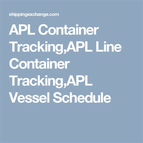 APL Container Tracking,APL Line Container Tracking,APL ...