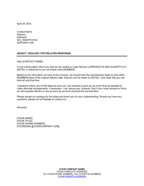 Apology for Delayed Response Template – Word & PDF   By ...