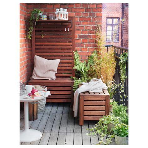 ÄPPLARÖ Banco jardín con almacenaje   marrón tinte marrón ...