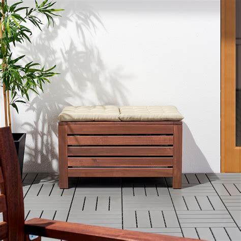 ÄPPLARÖ Banco jardín con almacenaje, marrón tinte marrón ...