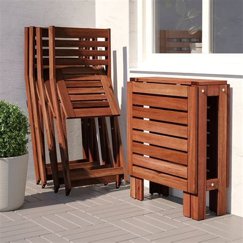 ÄPPLARÖ brown stained, Table+4 folding chairs, outdoor ...