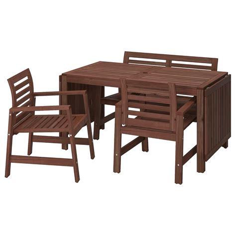 ÄPPLARÖ Mesa, 2 sillas y banca, exterior   tinte café   IKEA