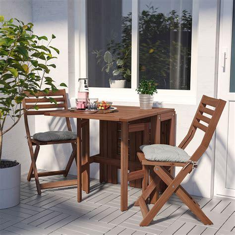 ÄPPLARÖ Mesa y 2 sillas plegables, exterior   tinte café ...
