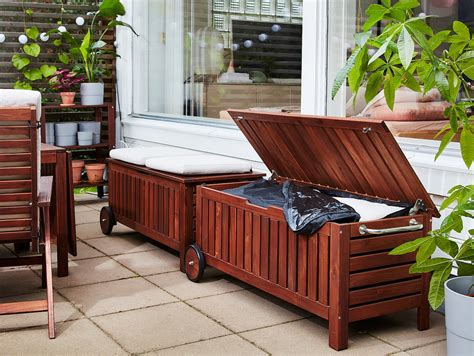 ÄPPLARÖ Storage bench, outdoor, brown stained brown   IKEA