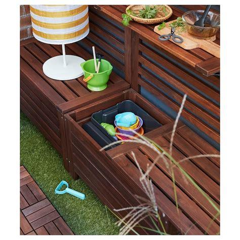 ÄPPLARÖ Storage bench, outdoor, brown stained brown, Width ...