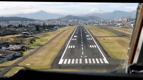 Approach, landing and taxi in at Quito airport, Ecuador ...