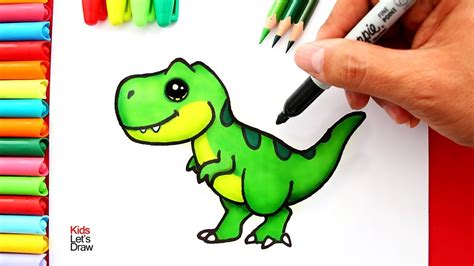 Aprende a dibujar un TIRANOSAURIO REX  T REX  Kawaii | How ...