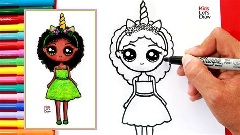 Aprende a dibujar una NIÑA UNICORNIO MORENA Kawaii   How ...