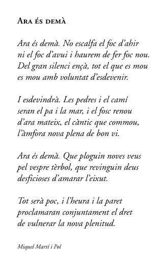 Ara és demà. Miquel Martí i Pol. | Poesia catalana, Poemas ...