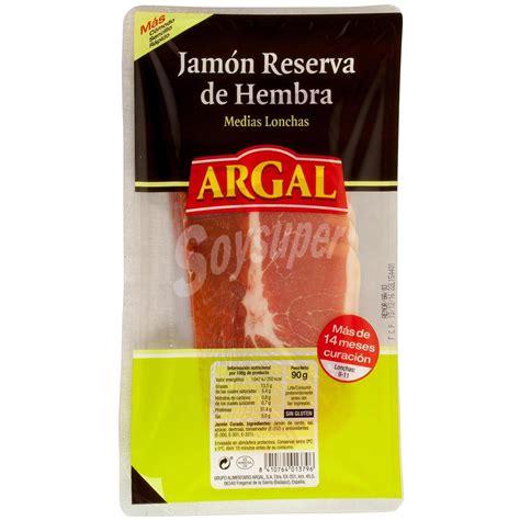 Argal Jamón reserva de hembra medias lonchas sin gluten 90 g