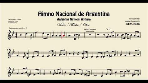Argentine National Anthem Sheet Music for Violin Flute and ...