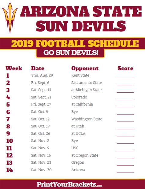 Arizona State Sun Devils 2019 Football Schedule   Printable