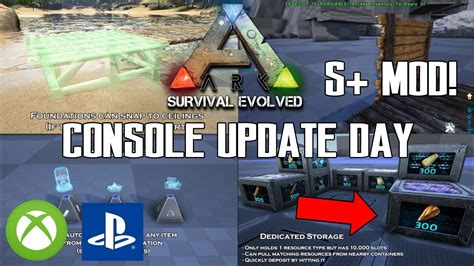 ARK CONSOLE UPDATE DAY!   S+ MOD IS HERE!   NEW DINO ...
