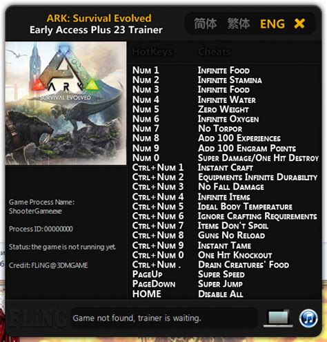 ARK: Survival Evolved Trainer +23 Early Access: 17.01.2016 ...