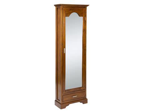Armario zapatero alto y estrecho con espejo y cajón colonial
