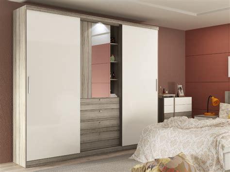 Armoire BODIL chêne   portes coulissantes   Miroir tiroirs