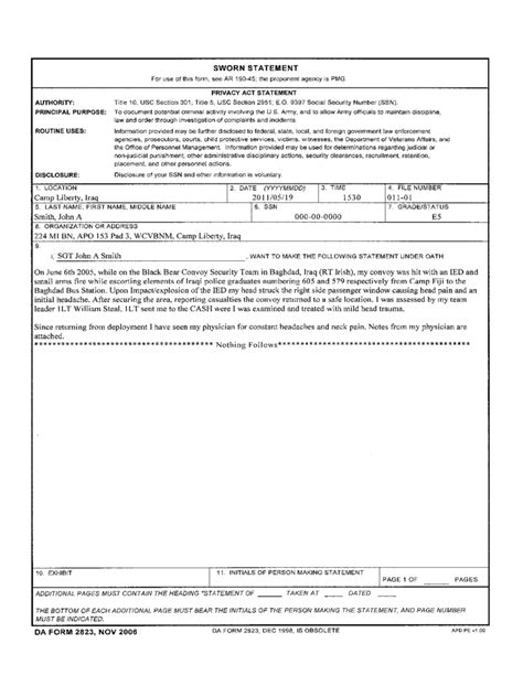 Army Sworn Statement Form   2 Free Templates in PDF, Word ...